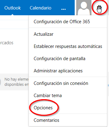 ayuda webmail outlook options